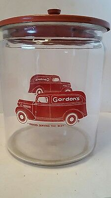 RARE Vintage 1930's GORDON'S Country Store GLASS Candy JAR Metal Lid 2.5 gal
