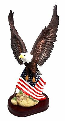 "18""H Large American Bald Eagle Clutching On USA Flag Resin Figurine W/ Base"
