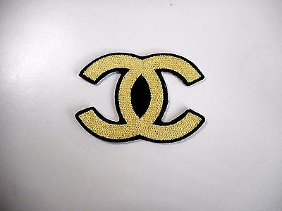 1x Gold Chanel Logo Patches Embroidered Cloth Patch Applique Badge Iron Sew On 1