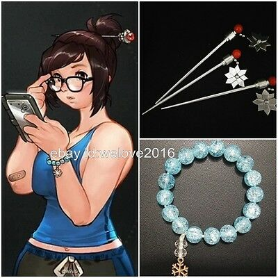 OW Overwatch Mei Cosplay Bracelet Hair Stick Handmade Hairpin Props Accessory