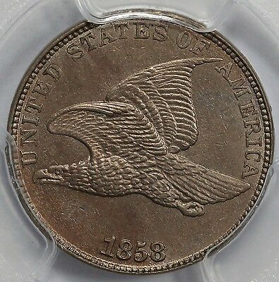 1858 1C Large Letters Flying Eagle Cent PCGS MS 63. SHARP STRIKE