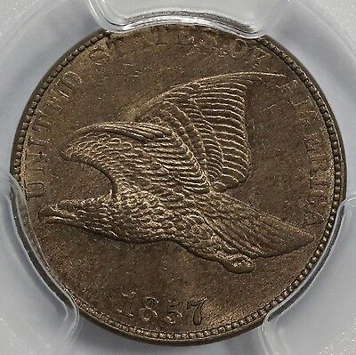 1857 1C Flying Eagle Cent PCGS MS 63