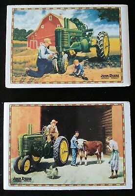 John Deere Ceramic Magnets Set Of 2 Vintage Farm Art Tractors