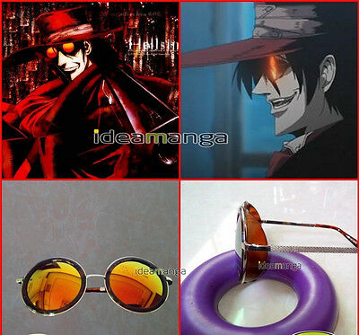 HELLSING Alucard Vampire Hunter Tailored Cosplay Glasses Prop Orange Sunglasses