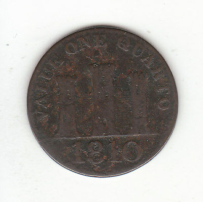 1810 Gibraltar Queen Victoria One Quarto Large Date.