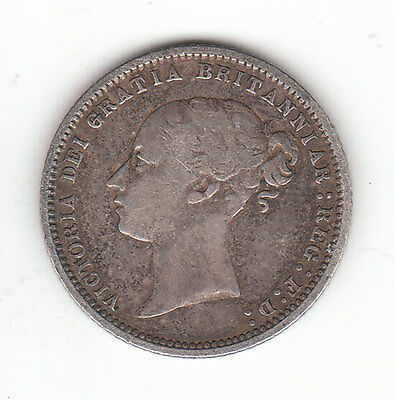 1869 Great Britain Queen Victoria Silver Sixpence.  Die #14. Very Rare. R2  Nice