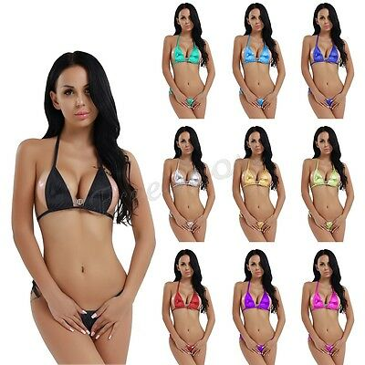 Sexy Women Bikini Swimwear Set Micro Top Bra G-string Thong T-back Swimsuit
