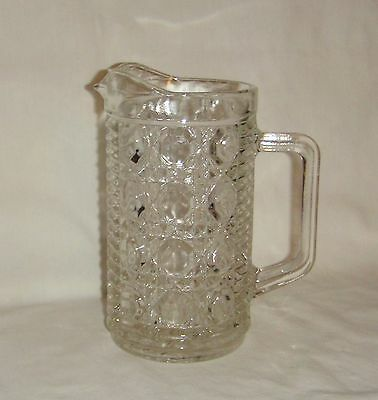 Federal Windsor Pint Pitcher Pressed Glass Button & Cane inv1385