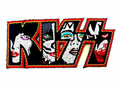 """KISS Faces Embroidered Iron On Patch Badge 4""""/10cm"""
