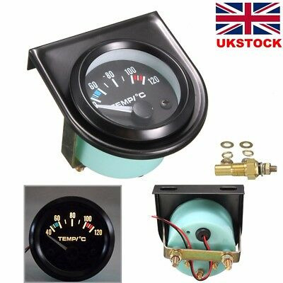 2'' 52mm Universal Car Pointer Water Temperature Temp Gauge Meter 40-120℃ LED UK