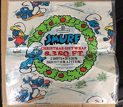 Smurf Vintage Christmas Wrapping Paper - 1982 for Gifts or Crafting - Sealed