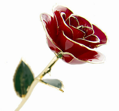 24K GOLD Karat Plated dipped REAL Red Rosew/stand AUS FAST FREE shipping