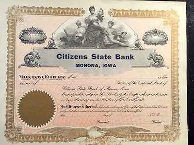 Antique Unissued stock certificate for Citizens State Bank, Monona, IA 1910 era