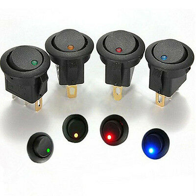 2pcs 12V Car Round Rocker Dot Boat Switch Green LED Light Toggle ON/OFF Switches