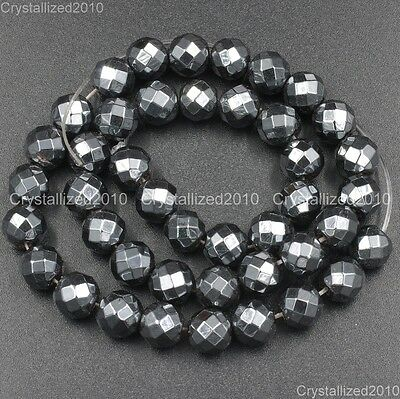 Natural Black Hematite Gemstone Faceted Round Beads 2mm 4mm 6mm 8mm 10mm 15.5''