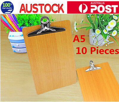 10pcs A5 Wooden Clipboard Hardboard Menu Board With Clip For Office Home School