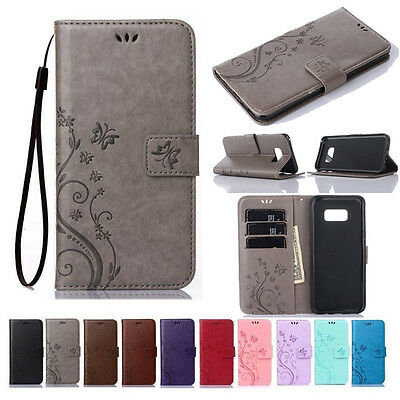 For Samsung Galaxy S9 S10 Leather Magnetic Flip Stand Card Wallet Case Cover