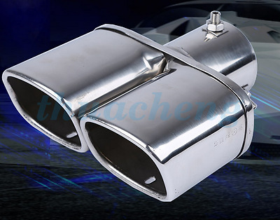 Silver Hot Universal Chrome Stainless Car Rear Exhaust Pipe Tail Muffler