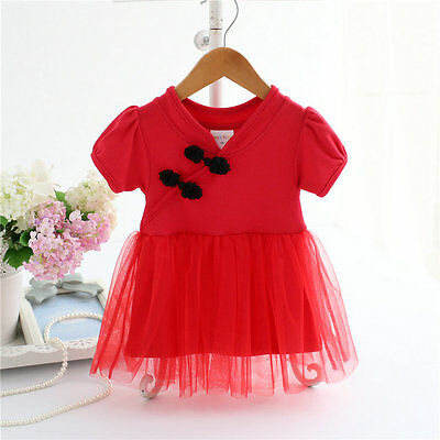 newborns infant baby girls clothes summer baby dress party Chinese-style dress
