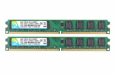 DUOMEIQI 4GB 2X 2GB PC2-4200U DDR2 533mhz 2RX8 240pin RAM Intel Desktop Memory