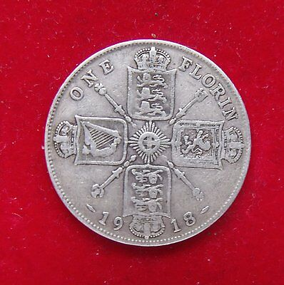 1918 Two Shillings 2/- George V silver .925 coin about fine