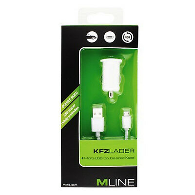 Mline Kfz Lader Micro USB weiss HMICROUSB3004WHDS