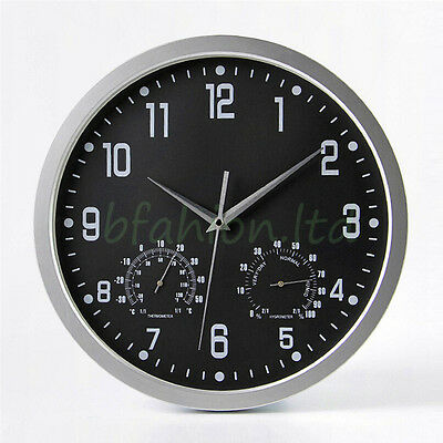 Silent Modern Living Home Kitchen Office Wall Clock Thermometer & Humidity 35cm