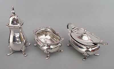 Antique Edwardian solid silver 3 pc cruet set, Barnard & Sons, London 1906/07