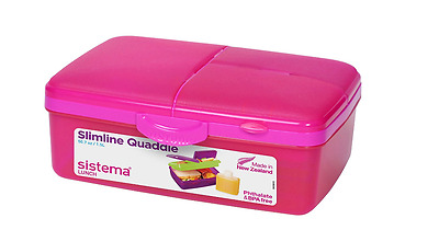 Lunch Box Slimline Quaddie 4 Compartments Pink 1.5L Sistema With Water Bottle
