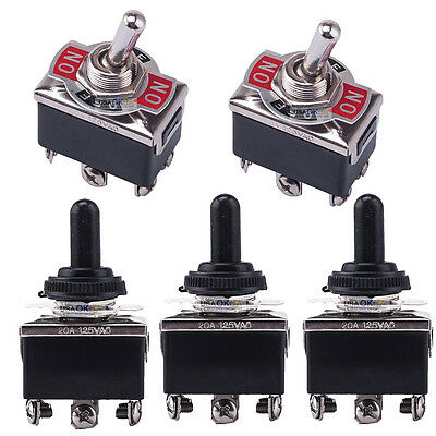 5x 25V/20A 3 Position 6 Terminal On/Off/On DPDT Toggle Switch w Waterproof Boot