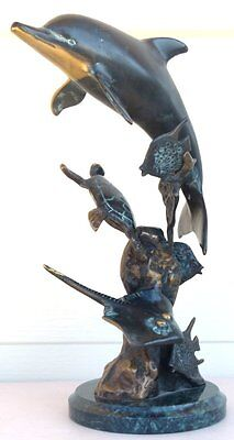 "SPI Brass Statue / Sculpture: Dolphin, Turtle, Manta Ray, Fish, 12"" Tall"