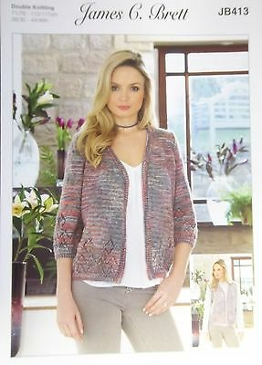 "James Brett Double Knitting pattern Ladies Jacket 28/30""- 44/46"" JB413"