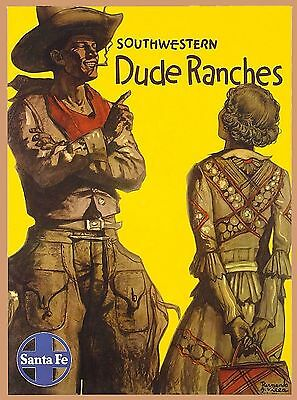 Southwestern Santa Fe New Mexico Dude United States Travel Advertisement Poster