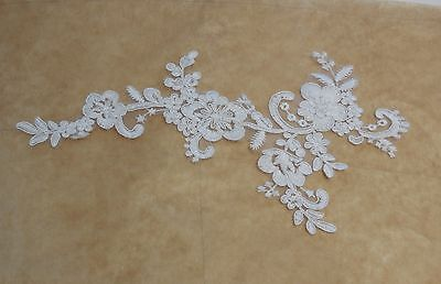Ivory bridal wedding floral tulle lace applique ivory cotton lace motif for sale