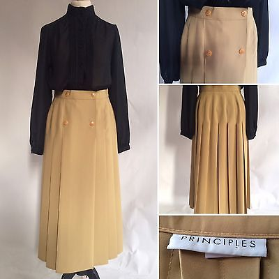 Vintage 1980s Beige Pleated Principles Skirt Mid Length Button Front Size 8 10