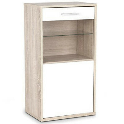 Wall / Floor Storage Cabinet with Glass Door and Shelf - Oak / White IP79933AK