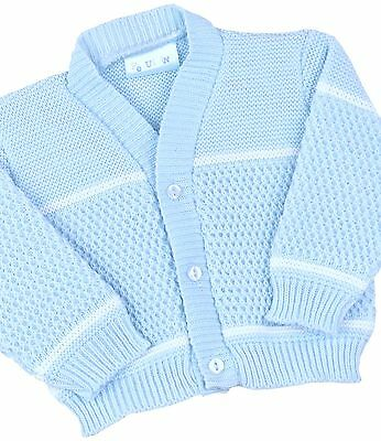 BabyPrem Baby Boys Clothes Sky Blue Knitted Waffle Design Cardigan Sweater 0-12M