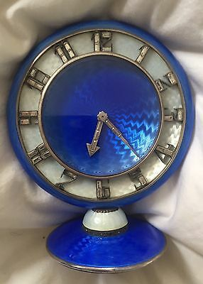 Harrods Art Deco 1922/1923 solid silver and Guilloché enamel travel clock