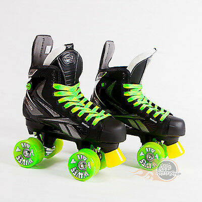 Reebok RibCor 9K Pump Quad Roller Skates, Playmaker Conversion, Airwave Wheels
