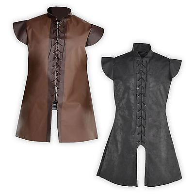 Mens Warrior Game Knight Tunic Jerkin Accessory Leather look Fancy Dress Costume