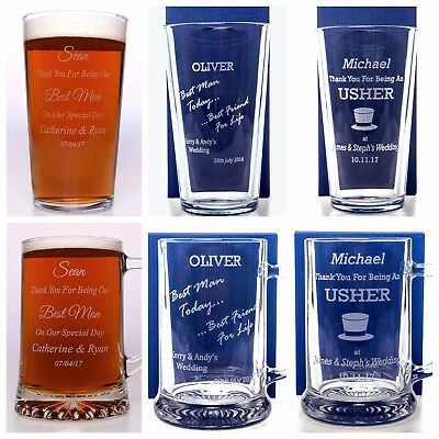 Personalised 'WEDDING' Pint Glass Gift For Best Man/Usher/Groomsman/Dad/Groom