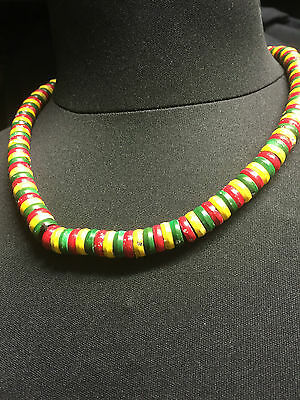 Red Gold Green Elasticated Beaded Necklace  Roots Rasta