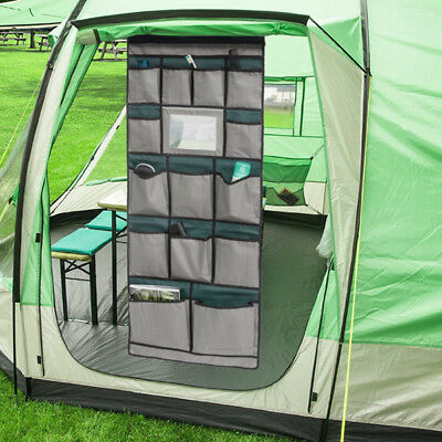 Camping Tent Storage Bag Organiser with Mirror 14 compartments   Caravan Travel