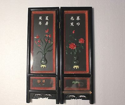 "19th CENTURY ANTIQUE TWO 16"" CHINESE ART PANELS HAND CARVED JADE CORAL HARDSTONE"