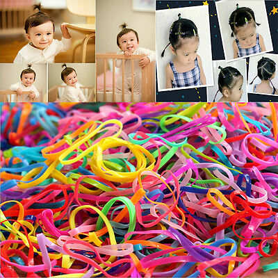 200Pcs Girls Kids Elastic Hairband Rope Ponytail Holder Hair Band Ties