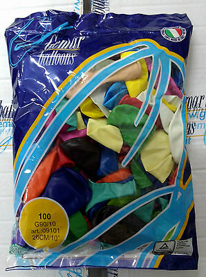 PALLONCINI COLORATI 100 Pz 26 cm diam 9-10 Polliici MULTICOLOR PARTY FESTA