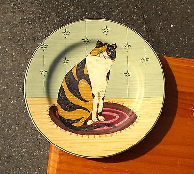 "Warren Kimble 8 1/4"" Tiger Stripe Kitty Cat Plate Cat Collection 2000 Sakura"