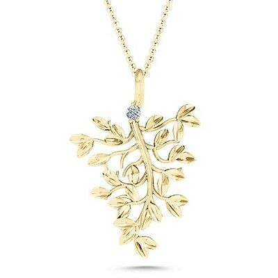 10K Yellow Gold Roots Of Love Family Tree Necklace With White Swarovski Zirconia