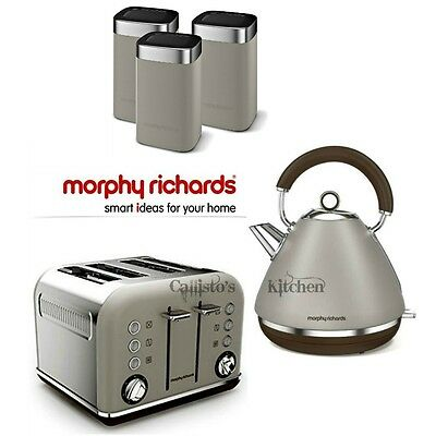 Morphy Richards Accents Kettle and Toaster + Tea Coffee & Sugar Canisters Pebble