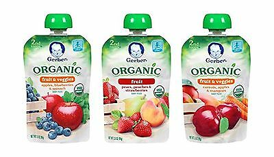 Gerber Organic 2nd Food Pouches Fruit and Veggie Variety Pack 1 3.5oz 18 count